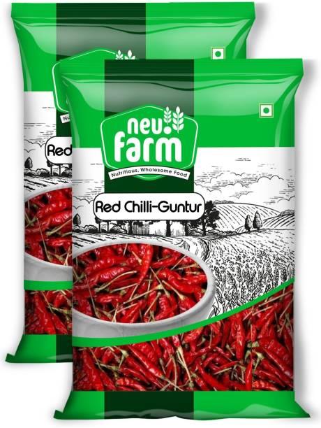 Neu.Farm Red Chilli - Lal Mirch Guntur with Stem - Natural & Premium - Pack of 2