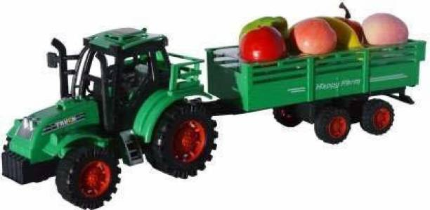 Smartcraft Super Power Tractor with Real Looking Fruits Trolley Toy for Kids, Happy Farm Tractor - Multicolor