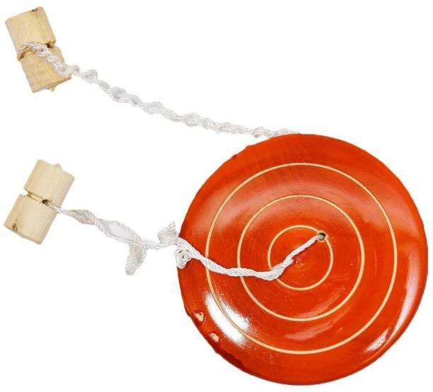 Smartcraft Whirling Button Spinner Wooden Toy for Kids, Umbrella Spinner Hand Top Wooden Desi Game( Made in India)- Multicolor