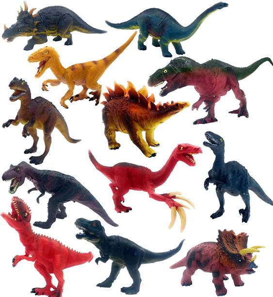 Wishkart Big Size 12 pieces Jurasic Dinosaurs Collection Learning & Educational Jurassic Sickle Dragon Model Simulation Toy