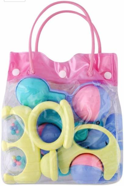 RISING BABY 5pcs Non-Toxic Colourful Rattle Toys for Toddler for Baby/Toddler/Infant/Child . Pack of 5 Soft sound for new born baby Rattle