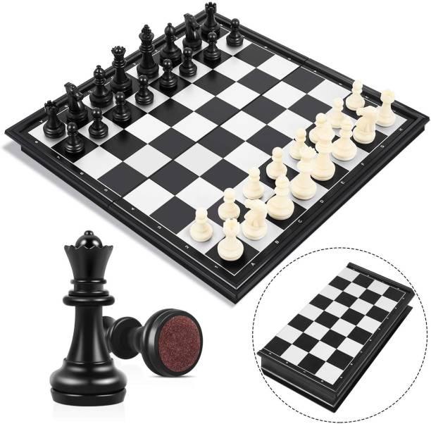 Shopoflux Chess Board Game Magnetic Folding | Travel Game Chess Board Game Set 3.5 cm Chess Board