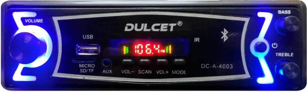DULCET Fixed Panel Single Din MP3 Bluetooth/USB/FM/AUX/MMC Car Stereo with Premium 3.5mm AUX Cable DC-A-4003 Car Stereo