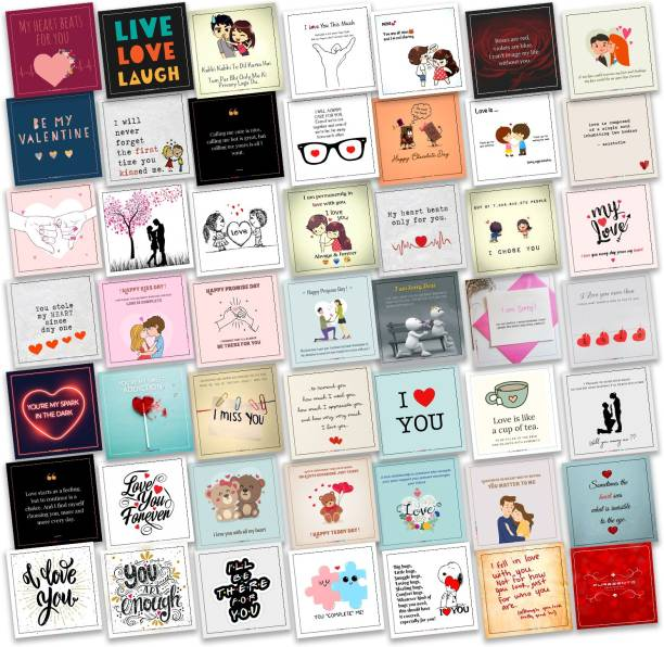 purezento Set of 48 Love Cards For Explosion Box or Other DIY Love Greeting Cards 3X3 Inches Greeting Card (Multicolor, Pack of 48) Greeting Card
