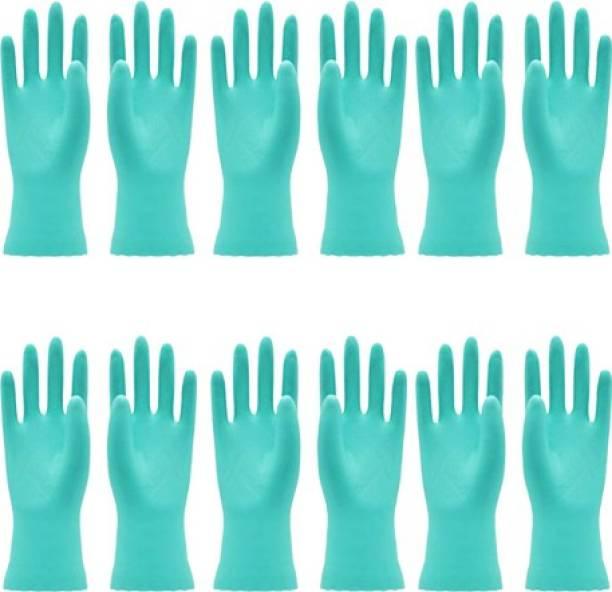 VAAMnational Rubber Hand Gloves Reusable Washing Cleaning Kitchen, Garden Glove, Gardening Glove, Garden Gloves, Gleaning Gloves green glove Gardening Shoulder Glove