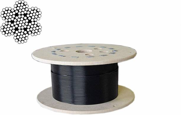 lets play Gym Machine Wire PU Coated Cable Inside Steel, 4 MM Thickness, 10 Meter Climbing Pulley