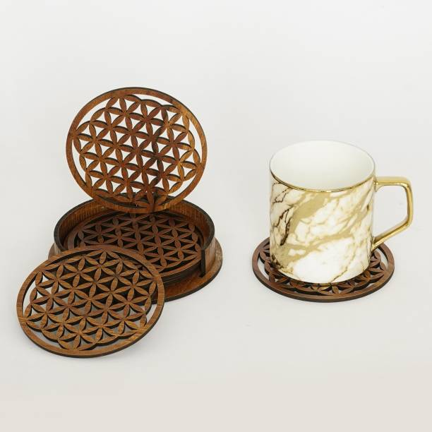 CAPIO ART Round Wood Coaster Set