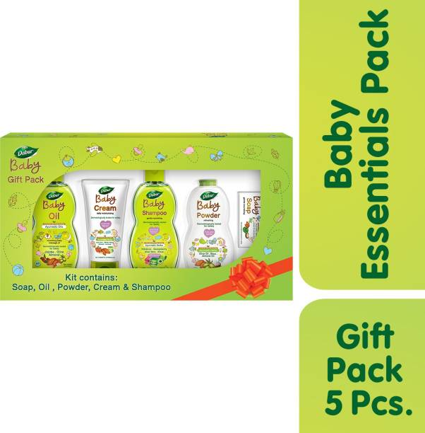 Dabur Baby Gift Pack (5 pieces) - Daily baby care essentials with No Harmful Chemicals | Hypoallergenic & Dermatologically tested with No Paraben and Phthalates