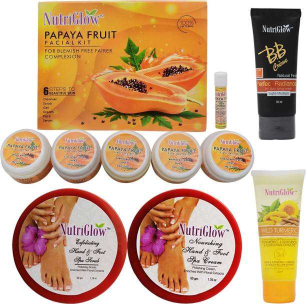 NutriGlow Set of 1 Papaya Facial Kit + 1 Wild Turmeric Face Wash + 1 BB cream + Hand and Foot spa ( Cream + Scrub)