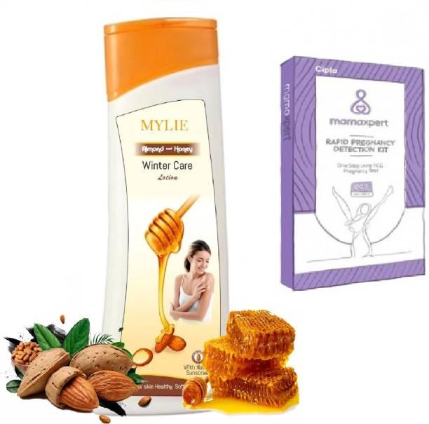 Mylie Winter Care & Honey Sun screen Natural Lotion and Cipla mamaxpert Rapid Preg test card