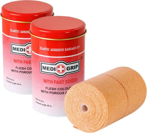 Medigrip Elastic Adhesive Bandage Self-Sticking 10 cm X 4 m (Pack of 2) Crepe Bandage