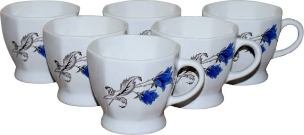 KC Somny Pack of 6 Ceramic Blue Floral Print Ceramic Coffee Cup & Tea Cup Set of 6 (AE1CD1A) 120ml