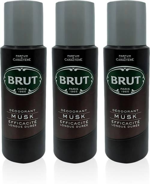 BRUT Musk Deodorant for Men | Long Lasting & Elegant Musky Fragrance 3x200ml Deodorant Spray  -  For Men