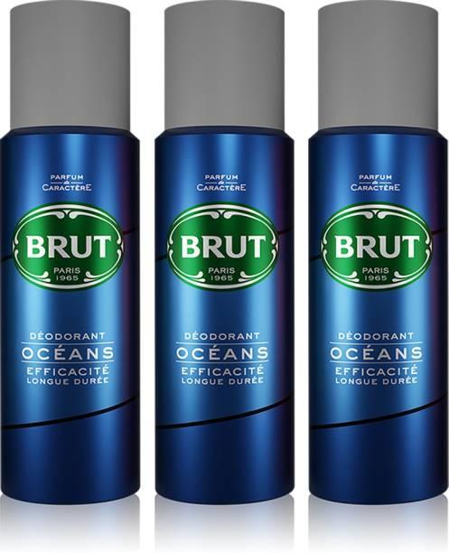 BRUT Oceans Deodorant for Men   Long Lasting & Fresh Aquatic Fragrance 3x200ml Deodorant Spray  -  For Men