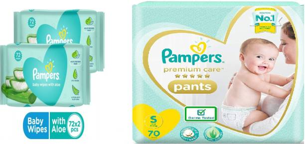 Pampers Premium Care pants diaper - S 70 Pieces+Aloe 144 wipes - S