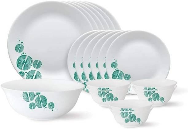 Larah by Borosil Pack of 18 Opalware Dinner Set