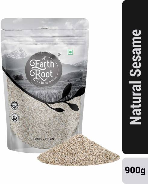 EARTHROOT Natural White Sesame Seeds | White Til | Tal | Indian Spices (900 GM)