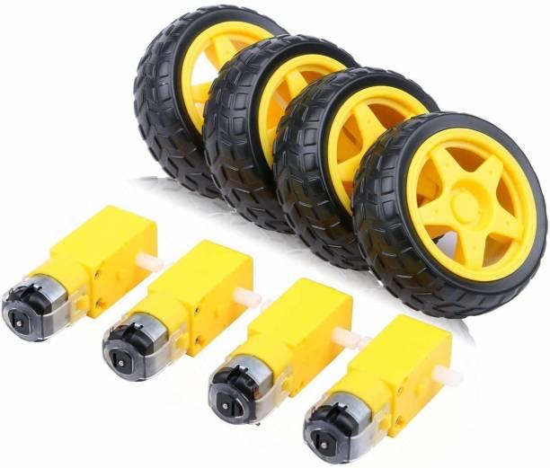 SunRobotics Dual Shaft BO motor with wheel (4 Pcs each) Educational Electronic Hobby Kit