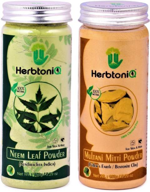 HerbtoniQ 100% Organic Natural Neem Leaf Powder 150g And Multani Mitti Powder (Fuller's Earth) 150g For Face Pack And Hair Pack