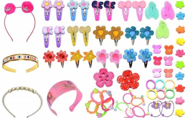nakas Baby Hair Band; Mix Style Tic Tac; Hair Clips; Pin; Elastics Ponytail Holder Hair Accessories for Girls ; 67 Pieces/Set (Multicolour) Hair Accessory Set