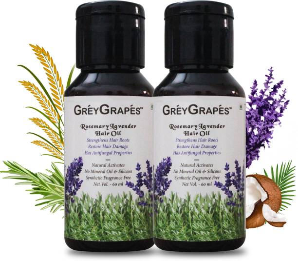 Greygrapes Natural Rosemary & Lavender Hair Oil - No Parabens, Silicones & Mineral Oil (PACK OF 2) Hair Oil