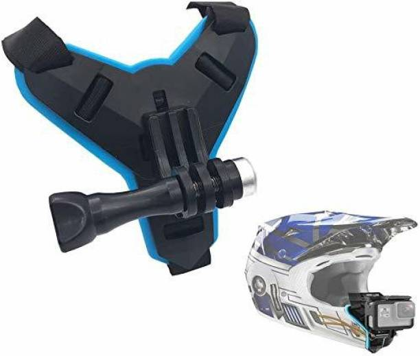 Amazers Choice Helmet Strap Mount Front Chin Mount for GoPro Hero 9 Black, 8,7,6, Hero 5 Session and for Other Similar Action Camera Helmet Mount (Black&Blue) 01 Helmet Mount