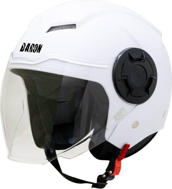 Steelbird Baron Open Face Helmet, ISI Certified Helmet in Dashing White with Clear Visor Motorbike Helmet