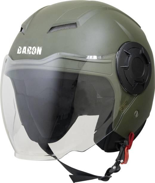 Steelbird Open Face Helmet, ISI Certified Helmet in Matt Battle Green with Clear Visor Motorbike Helmet