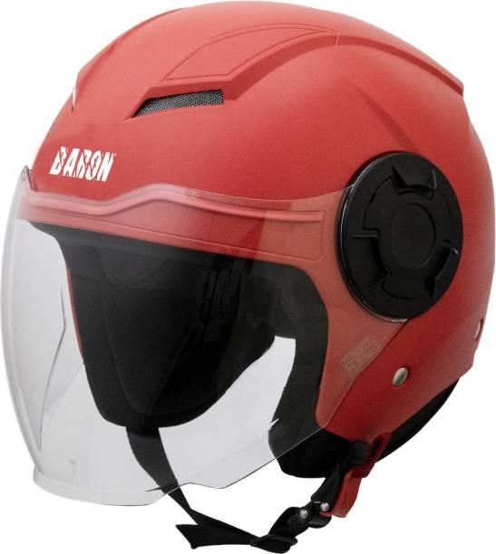 Steelbird Baron Open Face Helmet, ISI Certified Helmet in Dashing Red with Clear Visor Motorbike Helmet