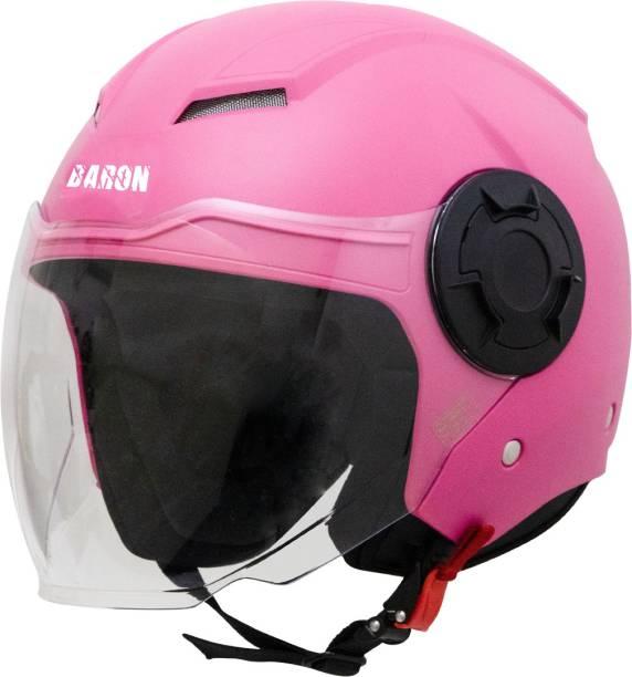 Steelbird Baron Open Face Helmet, ISI Certified Helmet in Dashing Pink with Clear Visor Motorbike Helmet