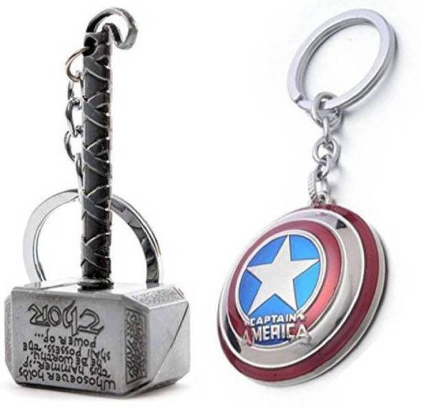 ibex Combo Pack of Superhero Thor and Captain America Shield Keyring Key Chain