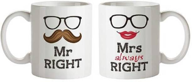 Exciting Lives Mr Mrs Right Couple Set Of Two Ceramic Coffee Mug