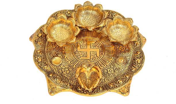 Royalbox Pooja Thali with Diya Gold Plated for Home and Office Temple and Pooja Aluminium Aluminium