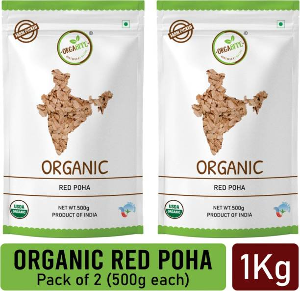 ORGABITE Organic Red Poha pack of 2 (500g each) Red Poha (Unpolished)