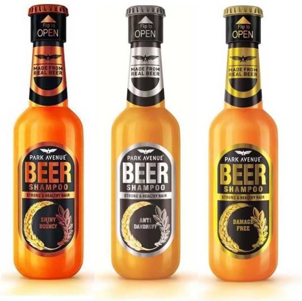 PARK AVENUE Beer Shampoo Shiny & Bouncy, Anti Dandruff, Damage Free 180ml x 3 Combo Of 3