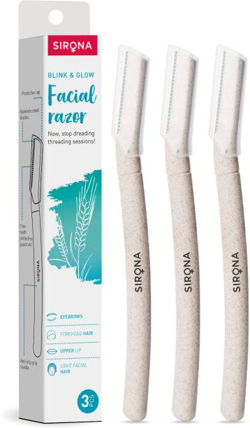 Sirona Blink and Glow Face Razor for Women | Facial & Upper Lips Hair Removal, Eyebrow Shaper & Dermaplaning Tool - 3 Pieces