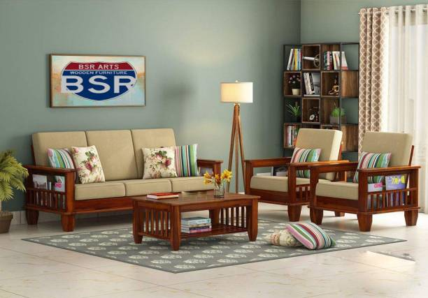 BSR ARTS Fabric 3 + 1 + 1 Natural Sofa Set