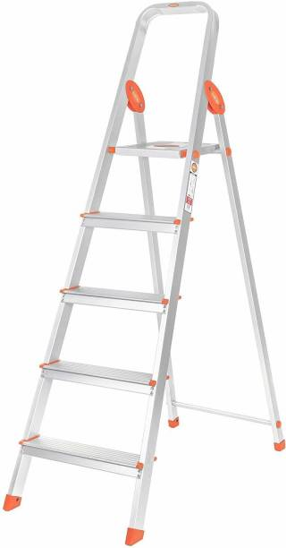 Bathla Advance 5-Step Foldable, with Sure-Hinge Technology (Orange) Aluminium Ladder
