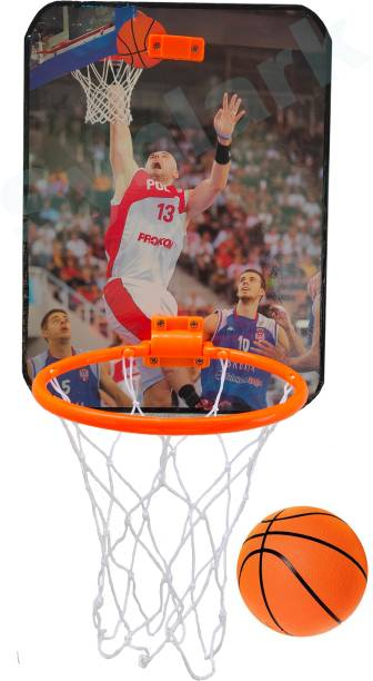 Synlark Basket Ball kit for Kids Playing Indoor Outdoor Basket Ball Hanging Board with Ball Design Multicolor Basketball