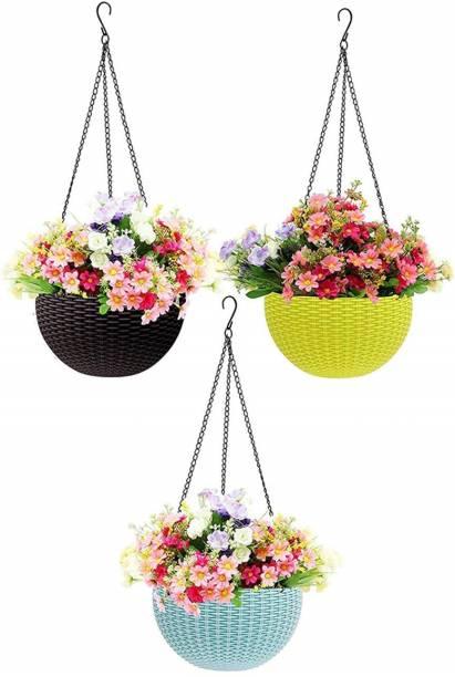 TFH Home/Garden/Balcony Décor (Multicolor-Round Planter Plastic Vase