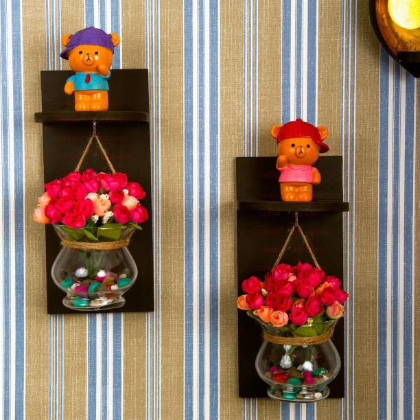 TIED RIBBONS Decorative Wall Décor Wood Shelf With Hanging Glass Pot And Artificial Flowers Wooden, Glass Vase