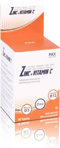 paxnaturals Vitamin C, D3, B12, Minerals, Zinc with Grape Seed Extract