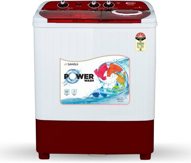 Sansui 7 kg 5 Star Rating Semi Automatic Top Load Red, White