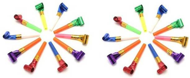 VR Creatives Kids Birthday Party Sports Noise Maker Blowouts Fun Whistles Trumpet Paper Horn Blowout Supplies Pack of 20 Multicolored Pea Whistle