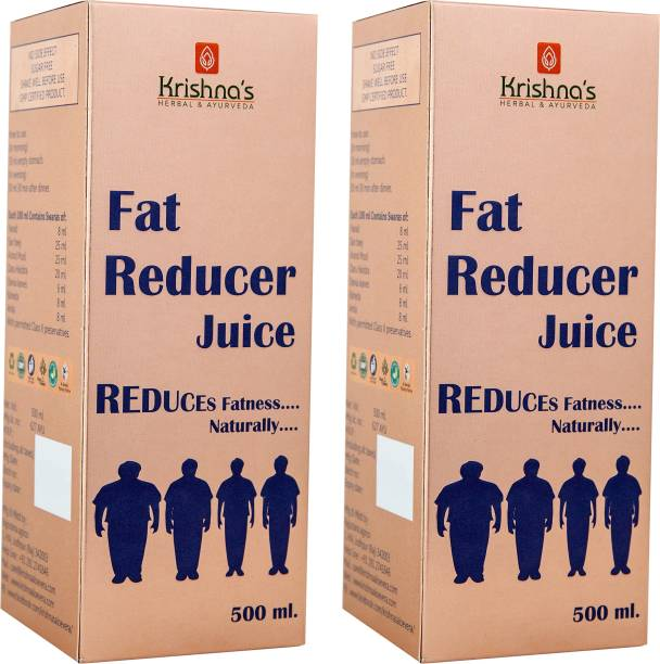 Krishna's Herbal & Ayurveda Fat Reducer Juice | Lose Weight Naturally | Improves Digestion | Strengthen Muscles | Helps Controlling Cholesterol | 500 ml Each