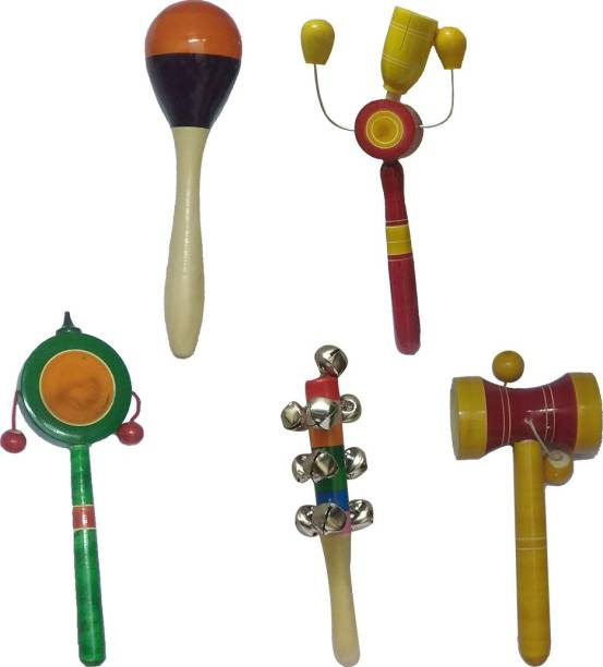 Tovick Eco friendly Wooden Set of 5 colorful baby Rattles Toys set for 2 months to 2 years old baby Rattle