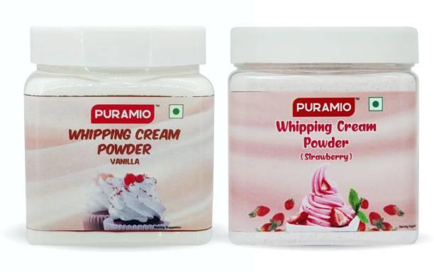 PURAMIO Whipping Cream Powder Combo Of- Vanilla & Strawberry, (250g x 2) Icing