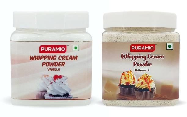 PURAMIO Whipping Cream Powder Combo Of- Vanilla & Butterscotch, (250g x 2) Icing