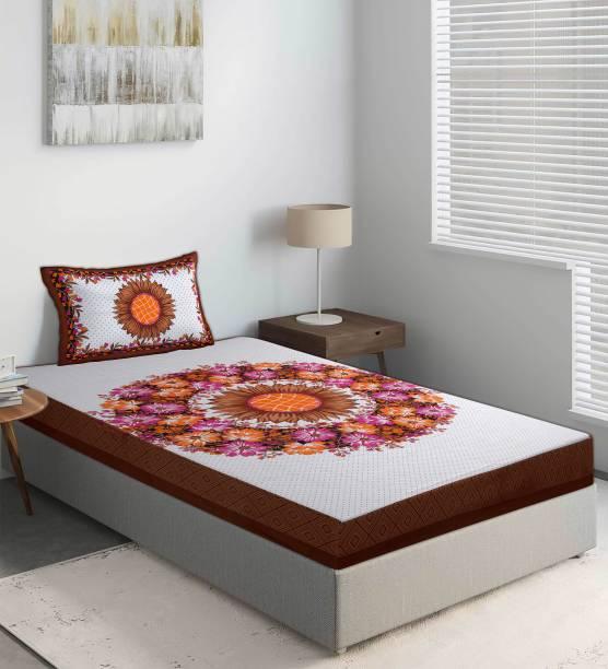 Dreamline Decor 144 TC Cotton Single Jaipuri Prints Bedsheet