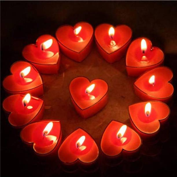 Shraddha Creation Acrylic Heart Candle for Valentine's Day Candle